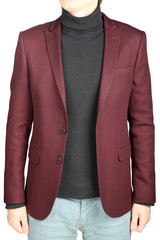 Crimson mens blazer in combination with denim pants, on white.