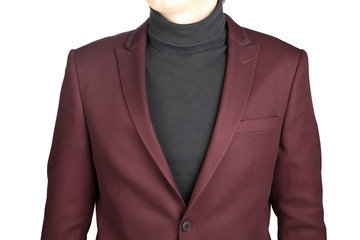 Menswear, Close-up fragment of male crimson jacket suit, on whit