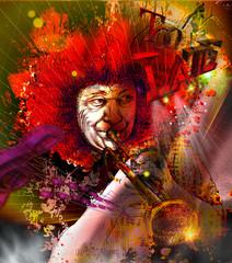 Musician: Trumpet Player (mixed mdia art)
