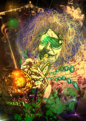 Musician: Trumpet Player (mixed mdia art)
