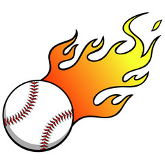 Baseball with Flames