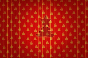 golden christmas star in red christmas wallpaper background