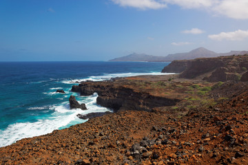 Turbulent ocean and rocky shoreline, Sao Nicolau, Cape Verde