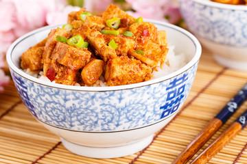 Scharfer Tofu mit Reis - Hot Tofu with rice