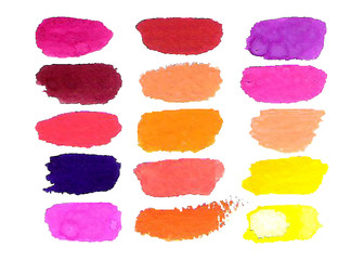 Colorful vector watercolor brush isolated on white.