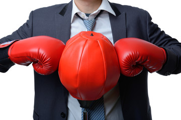 businessman with boxing glove ready to fight with work, business