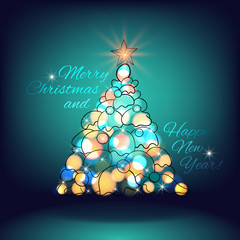 Merry Christmas and Happy New Year. Christmas Tree lights and
