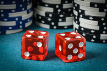 Red Dice and Playing Chips