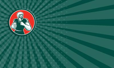 Business card American Football Running Back Circle Retro