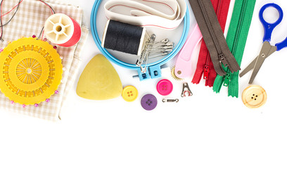 Embroidery tools on white background