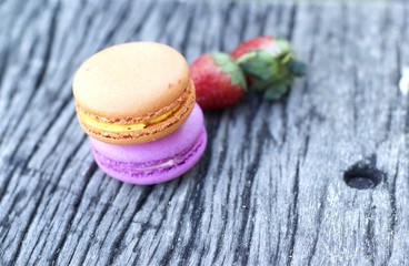 French macaroons with strawberry fruit.
