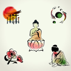 Japanese cultural icon with watercolor style