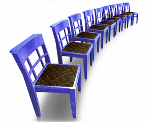 Row of blue chairs