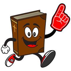 Bible School Mascot Running with Foam Finger