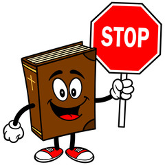 Bible School Mascot with Stop Sign