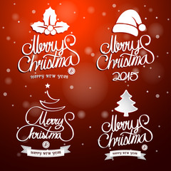 Christmas text. Merry Christmas And Happy New Year lettering, ve