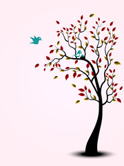 Bird family on the tree