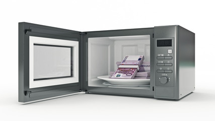 microwave with money