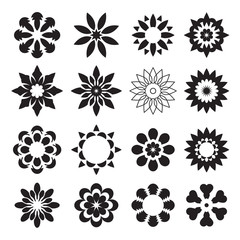 Set of black geometric flowers