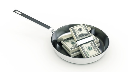 Cooking pan and full of money