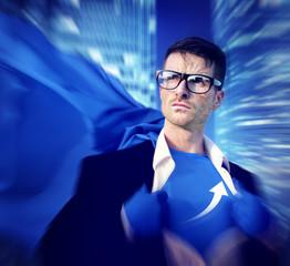 Superhero Businessman Growth Success Development Concept