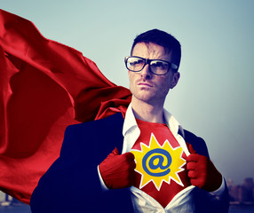 Address Strong Superhero Success Professional Concept