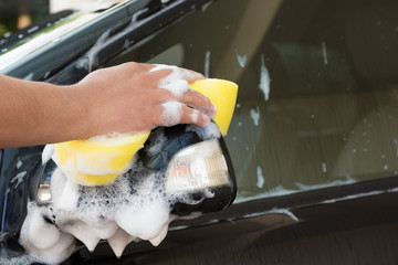 Hand hold sponge for washing the car.