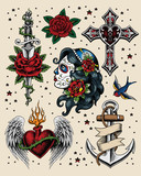 Tattoo Flash Illustration Set
