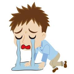 涙に溺れる2頭身の青年