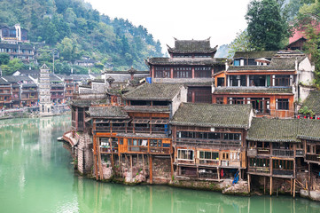 Stilt houses at Fenghuang ancient town, Hunan Province, China