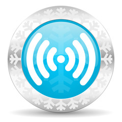 wifi icon, christmas button, wireless network sign
