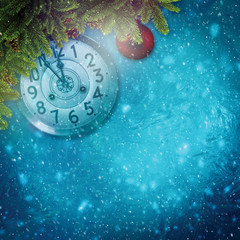 Abstract xmas backgrounds with retro watches and decorations