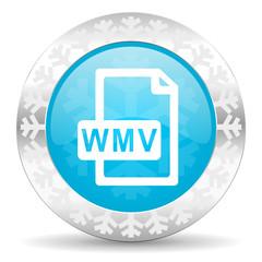wmv file icon, christmas button