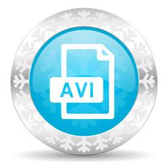 avi file icon, christmas button
