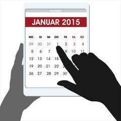 Neujahr 2015 countdown Hände digitaler Table-Kalender