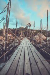 Wooden entrance bridge to the island of Koh Phangan