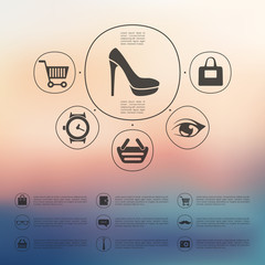 fashion infographic with unfocused background