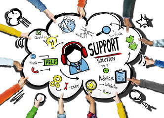 Support Solution  Help Care Quality Concept