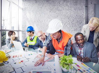 Architect Engineer Working Office Meeting Planning Concept