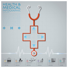 Cross Shape Stethoscope Health And Medical Infographic