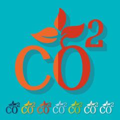 Flat design: co2 sign dioxide