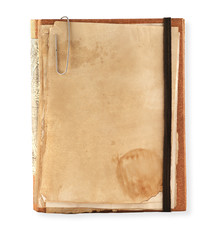 old notebook on a white background