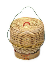 a bamboo wooden rice box for sticky rice