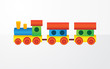 Childrens color toy train with carriages - 74706143