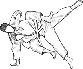 An hand drawn illustration  from series Martial Arts: JUDO