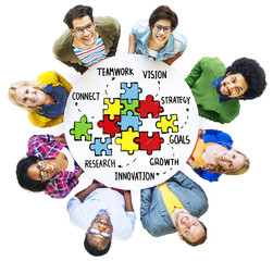 Teamwork Strategy Partnership Support Puzzle Concept