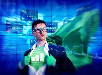 Chart Strong Superhero Success Professional Empowerment Concept