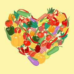 Vegetable heart. Vector illustration