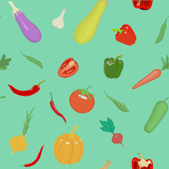 Vector seamless pattern with vegetables. Can be used for wallpap