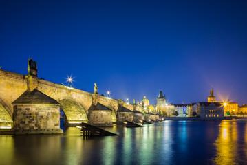Charles Bridge in Prague after sunset